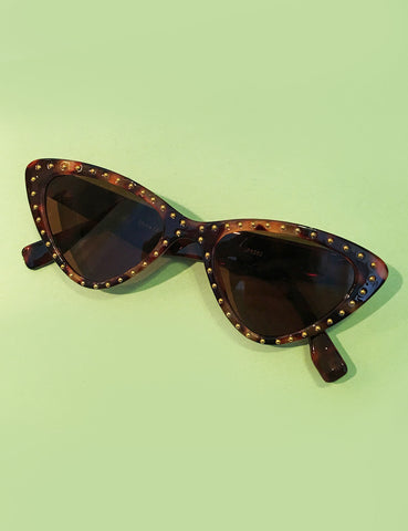 Tortoise Brown & Gold Studded Retro Classic Cat Eye Sunglasses