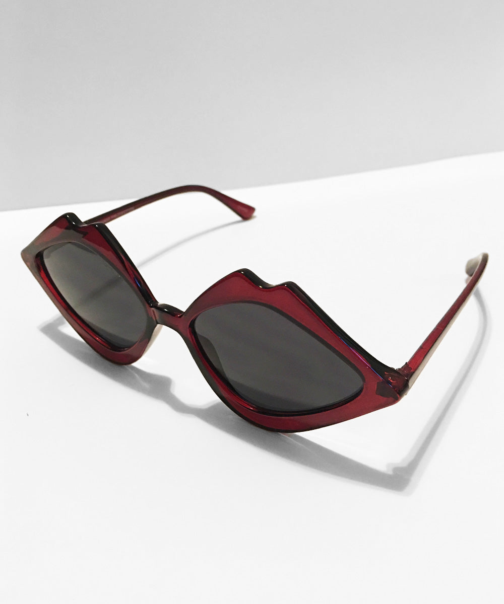 Burgundy Kiss Kiss Retro Sunglasses
