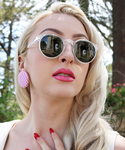 1940s Style Classic Clear & Gold Rounded Retro Sunglasses