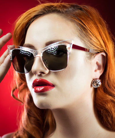 Clear Ultra Pointed Cat Eye Sunglasses