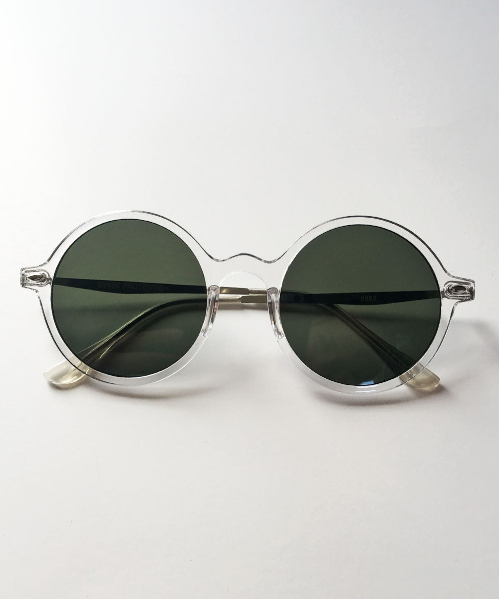 Clear & Gold Thin Framed Round Lightweight Sunnies