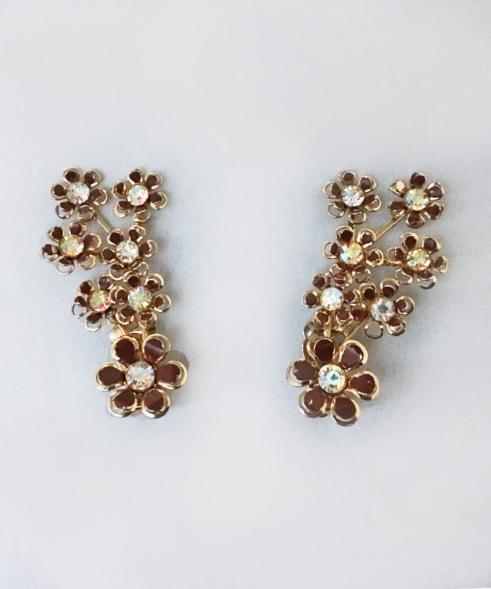 Authentic Vintage Coro Brown, Gold & Crystal Clip On Flower Earrings