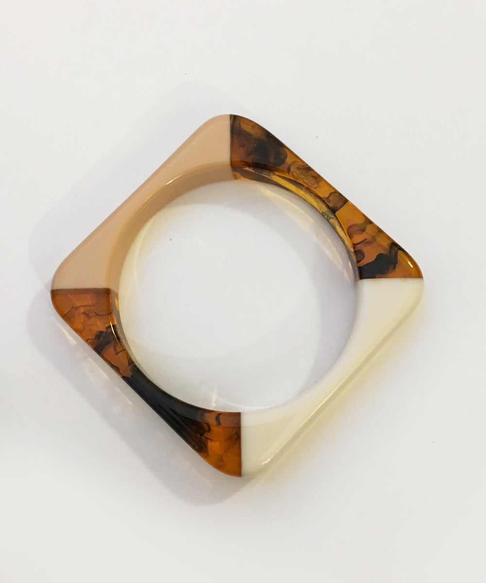 Tri Toned Marbled Resin Cream Square Bangle