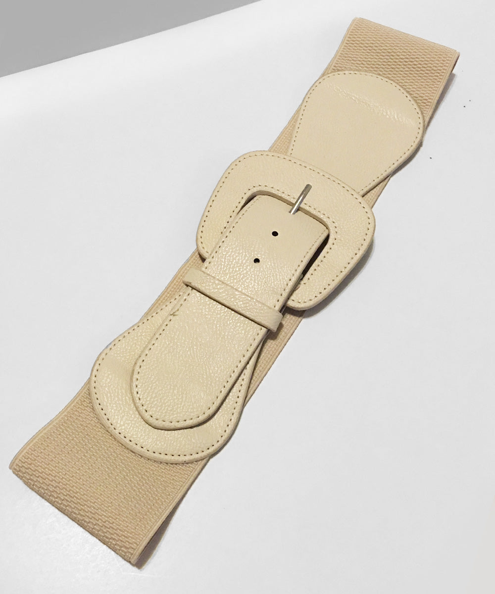 Cream Faux Leather Thick Stretch Belt