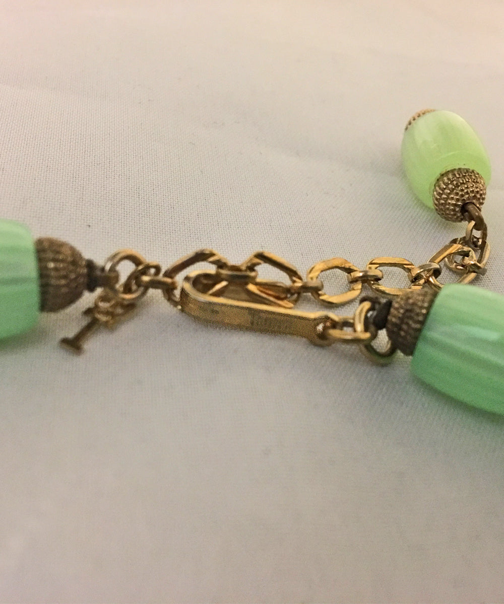 Crown Trifari Vintage Bright Green & Gold Beaded Necklace