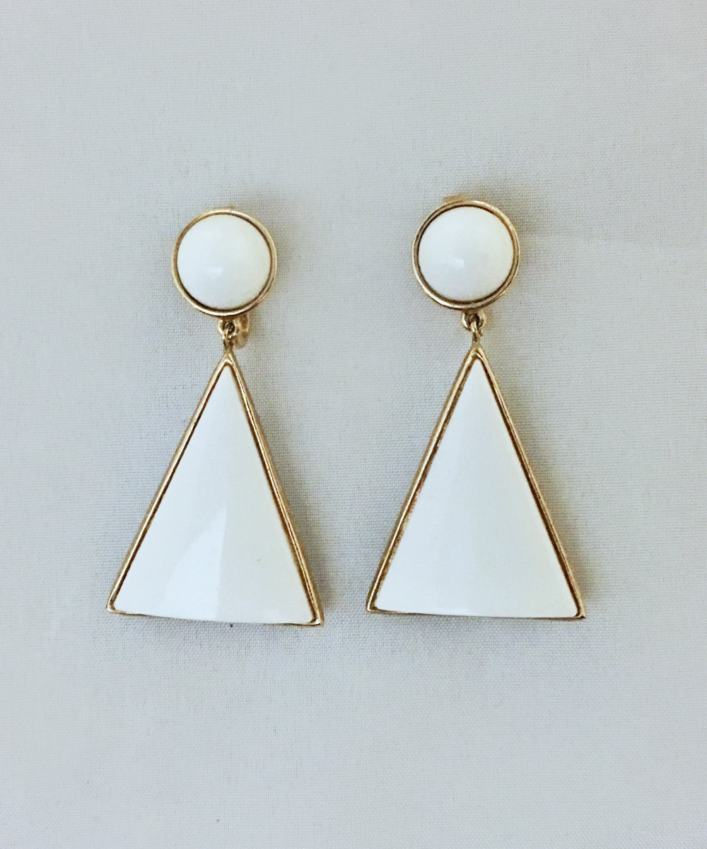 Authentic Vintage Crown Trifari White Lucite & Gold Triangle Clip On Earrings