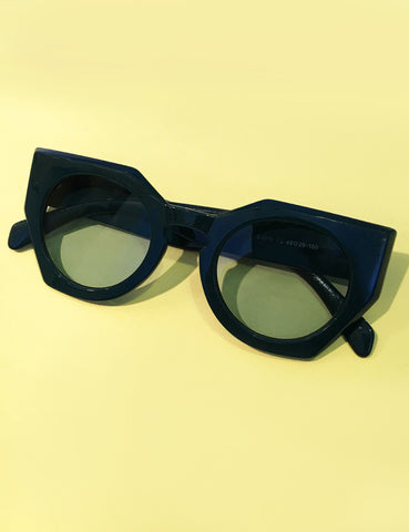 Teal Green 1960s Inspired Geometric Sunglasses