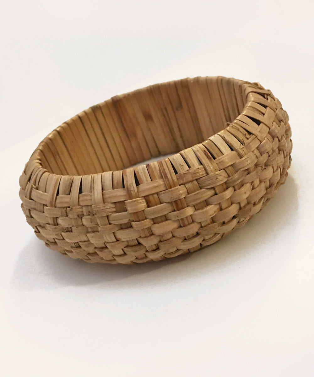 Thick Intricately Woven Tan Tiki Bangle Bracelet