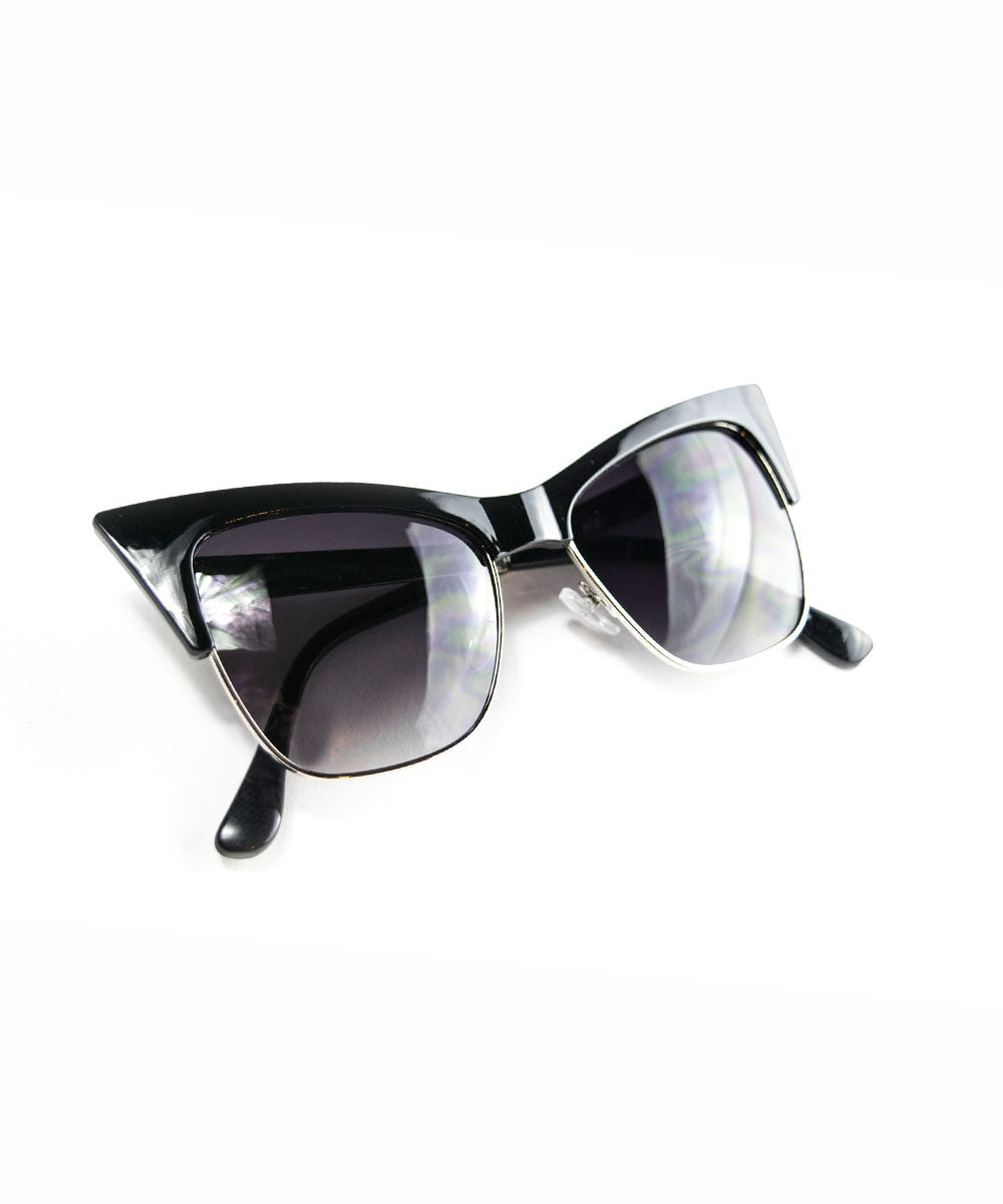 Glossy Black Ultra Pointed Cat Eye Sunglasses