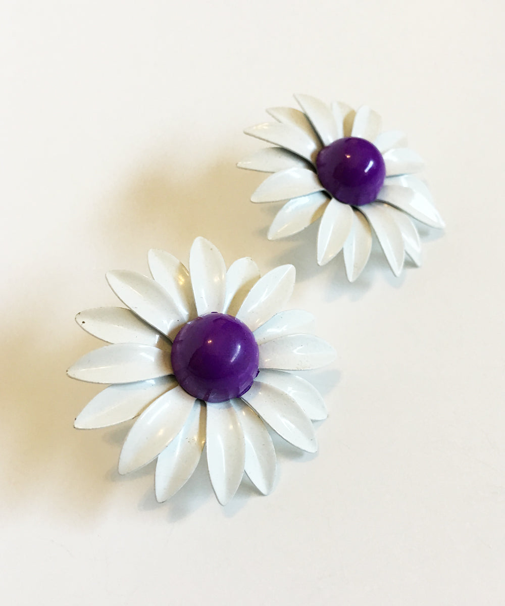 Vintage 1960s White & Purple Enamel Retro Post Back Earrings
