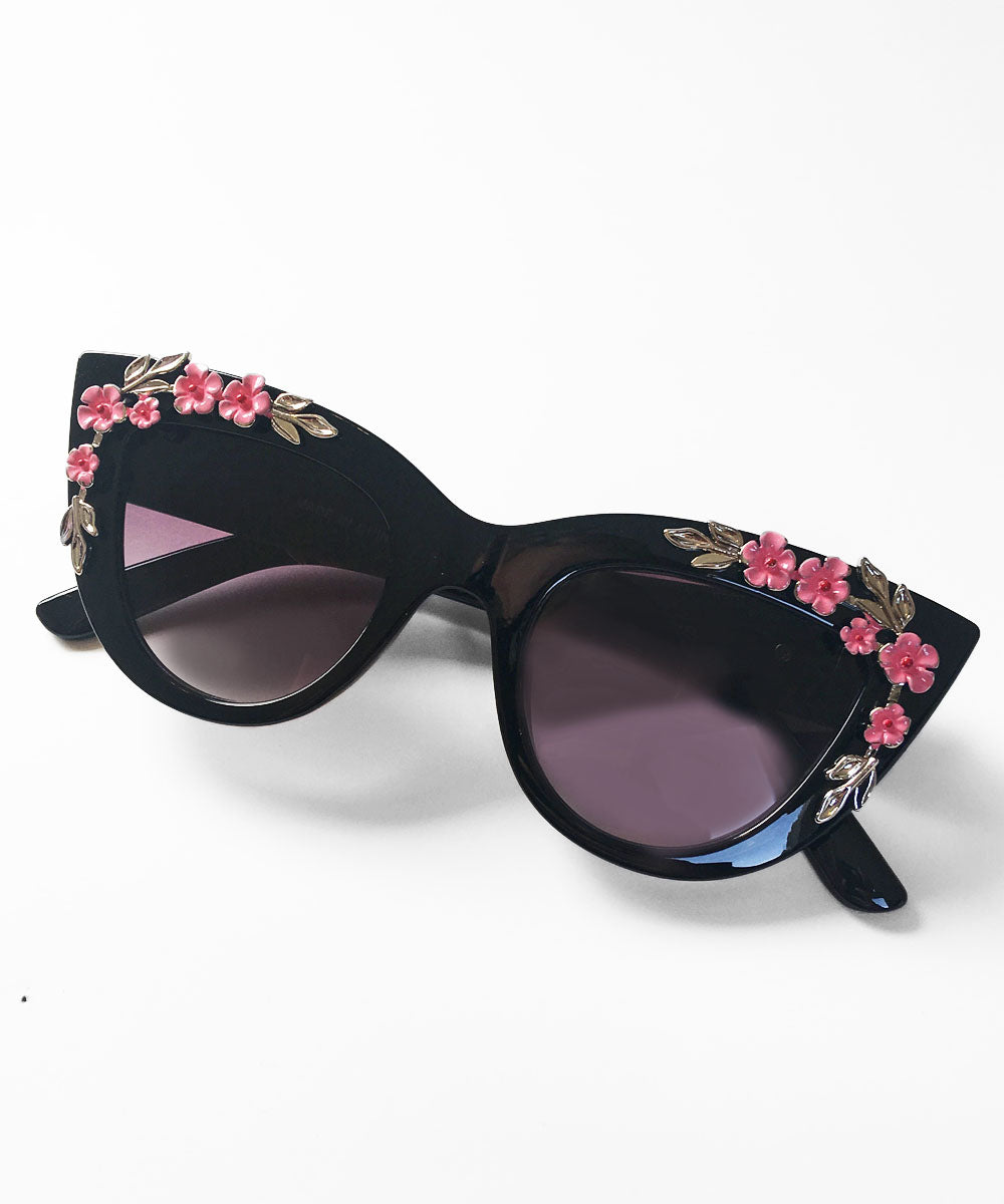 Black & Pink 3D Floral Retro Inspired Sunglasses