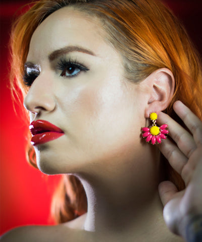 Fuchsia & Yellow Daisy Dangle Enamel Earrings