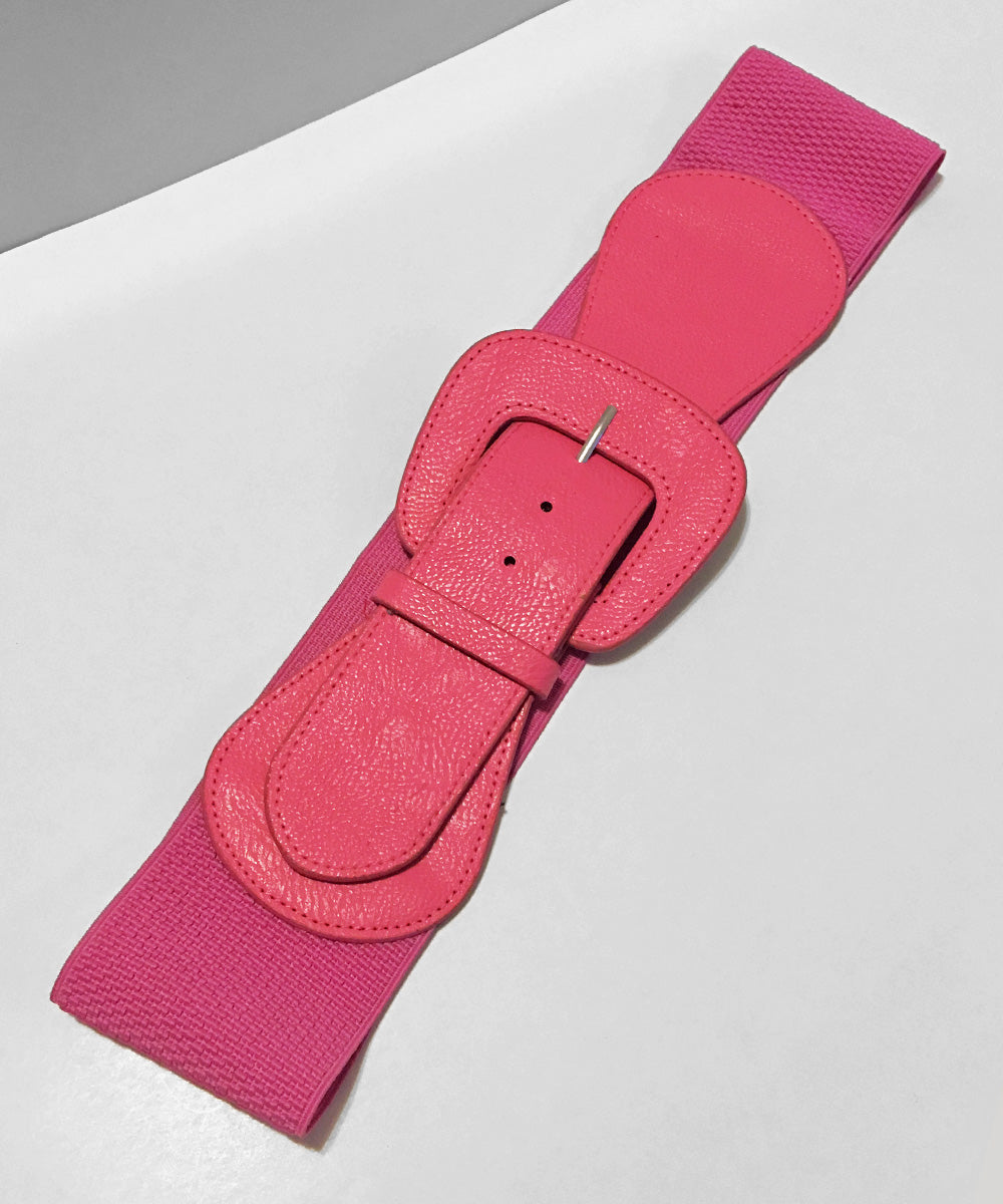 Fuchsia Pink Faux Leather Thick Stretch Belt