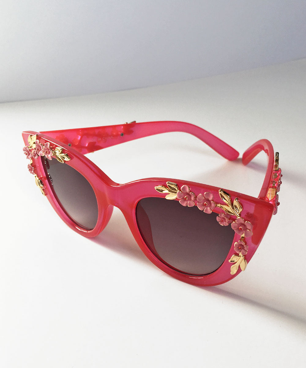 Fuchsia Translucent 3D Flower Retro Inspired Sunglasses