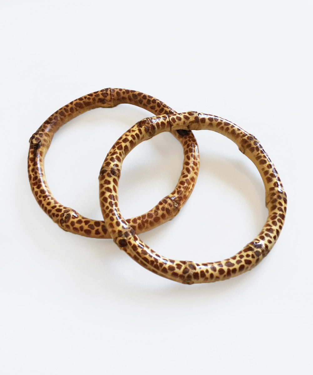 Giraffe Print Natural Bamboo Bangle Set