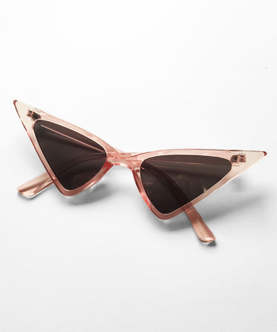 Clear Pink Ultra Pointed Glamour Ghoul Retro Cat Eye Sunglasses