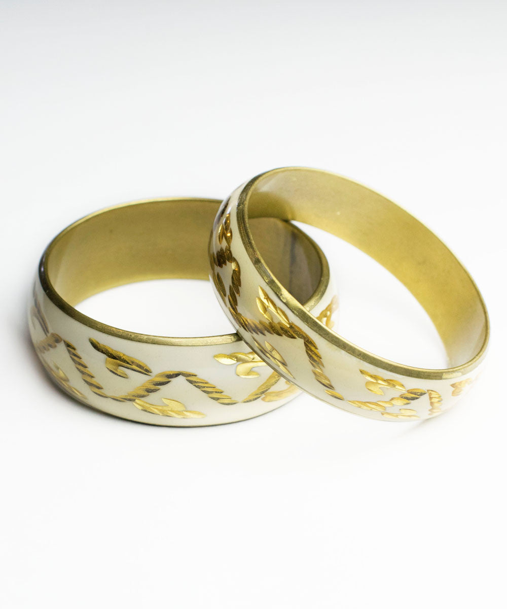 1950s Vintage Gold & Ivory Enamel Carved Metal Bangle Set
