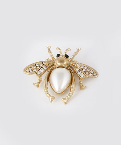 Gold Pearl & Rhinestone Vintage Inspired Flying Beetle Brooch