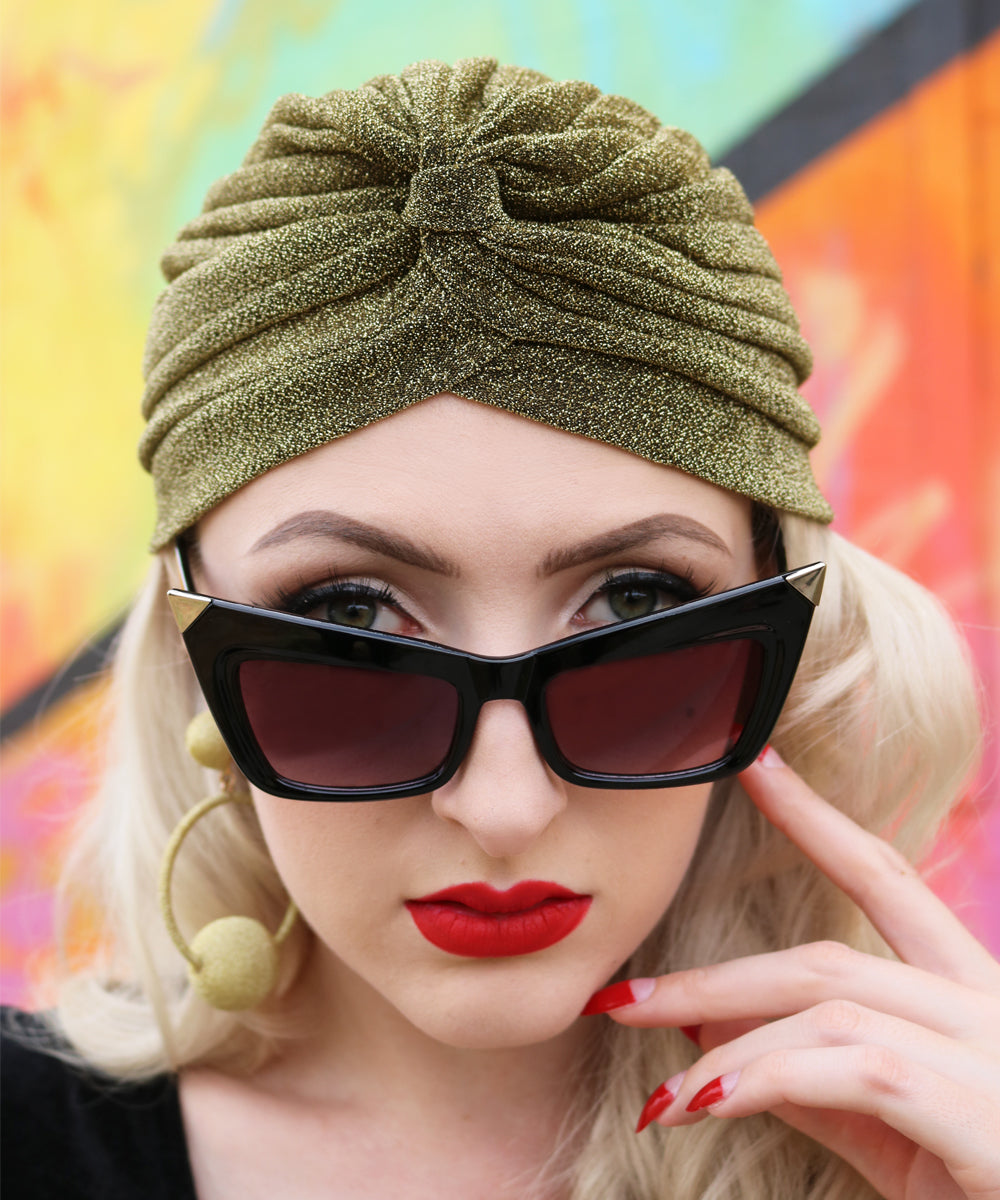 Vintage Inspired Gold Glitter Fitted Stretchy Turban