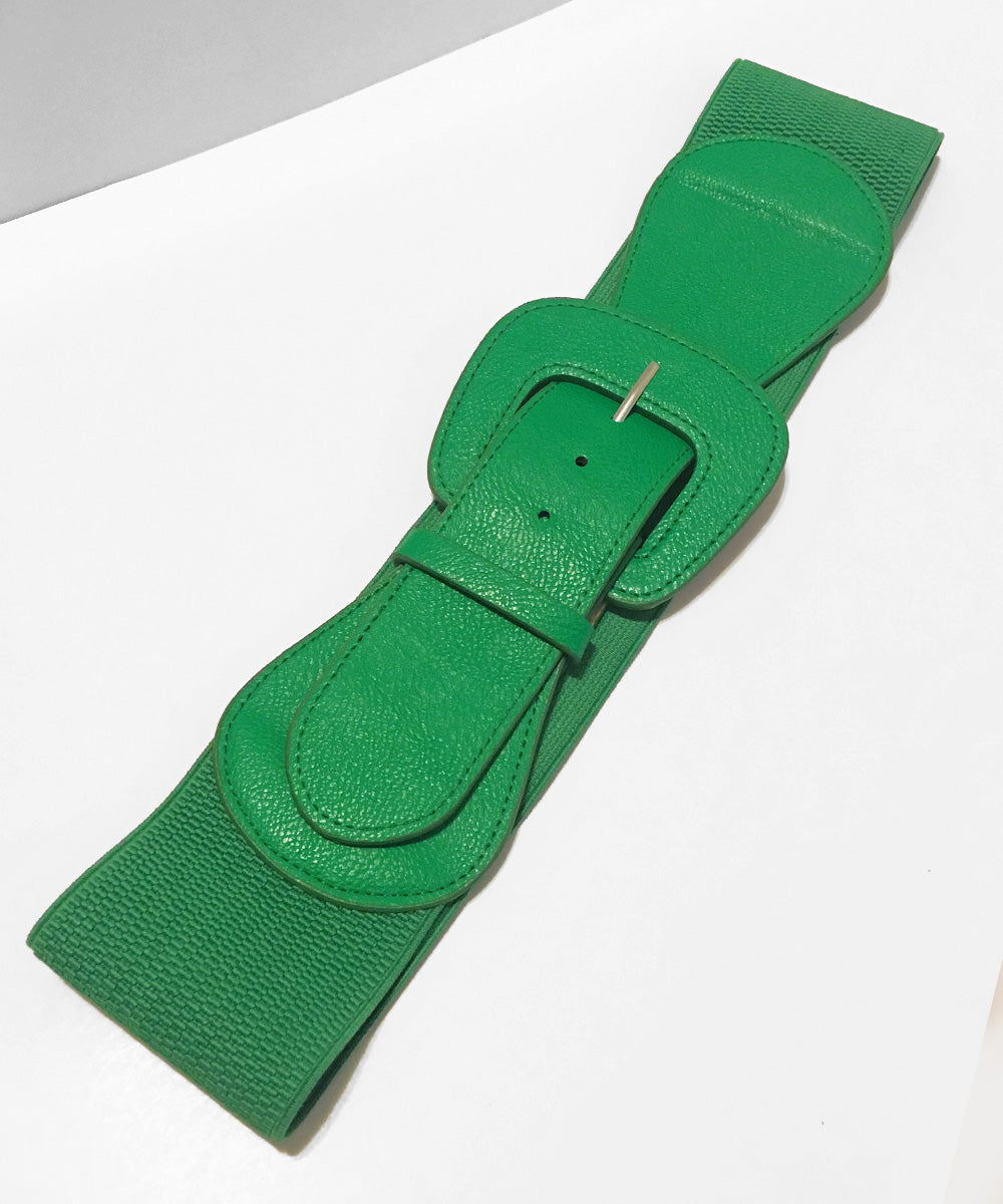 Grass Green Faux Leather Thick Stretch Belt
