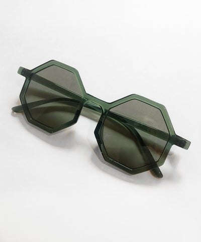 Octavia Grey Green Thin Geometric Retro 1960s Sunglasses