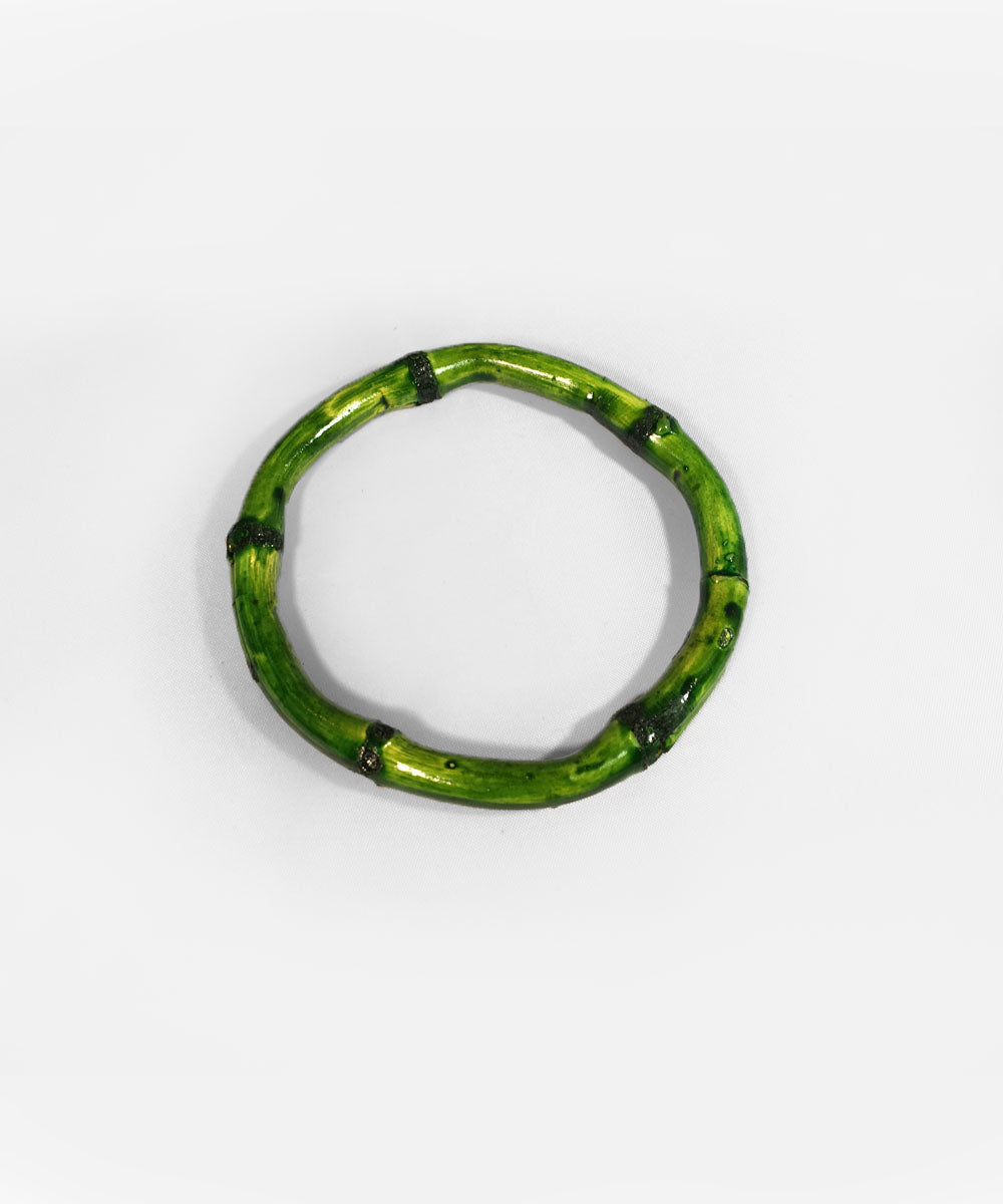 Green Bamboo Round Bangle Set