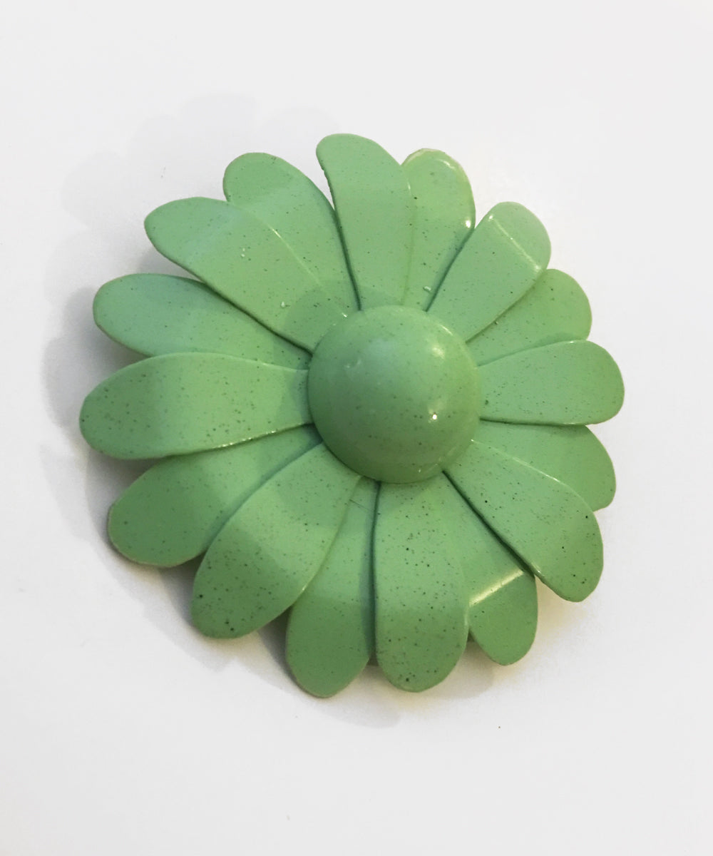 Spearmint Green Handmade Enamel Retro Daisy Brooch