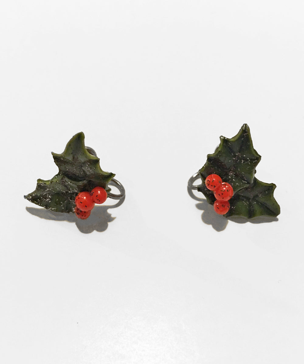 Vintage Christmas 1960s Green & Red Glitter Holly Leaf Clip On Earrings