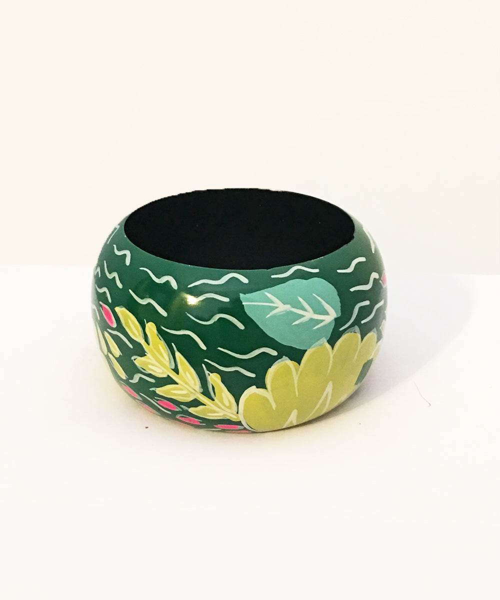 1940s Inspired Abstract Green Hawaiian Hand Painted Wooden Bangle