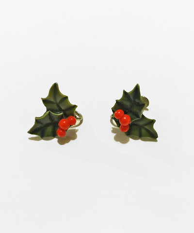 Vintage 1960s Green & Red Christmas Holly Leaf Clip On Earrings