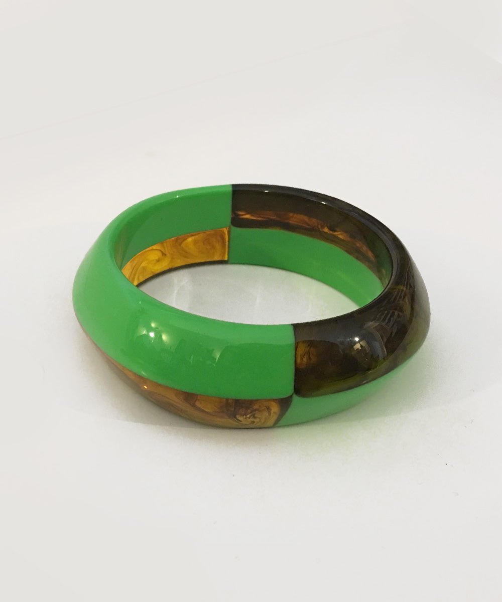 Two Toned Green & Marbled Tortoise Resin Bangle