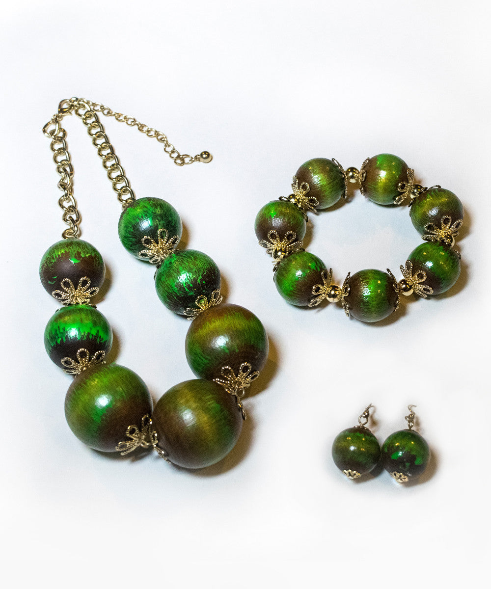Retro Tiki Green Large Bead Jewelry Set