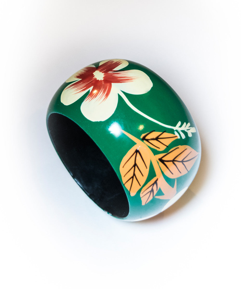 Retro Tiki Oversized Painted Green Floral Bangle