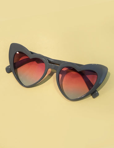 Classic Grey & Pink Heart Shaped Retro Sunglasses