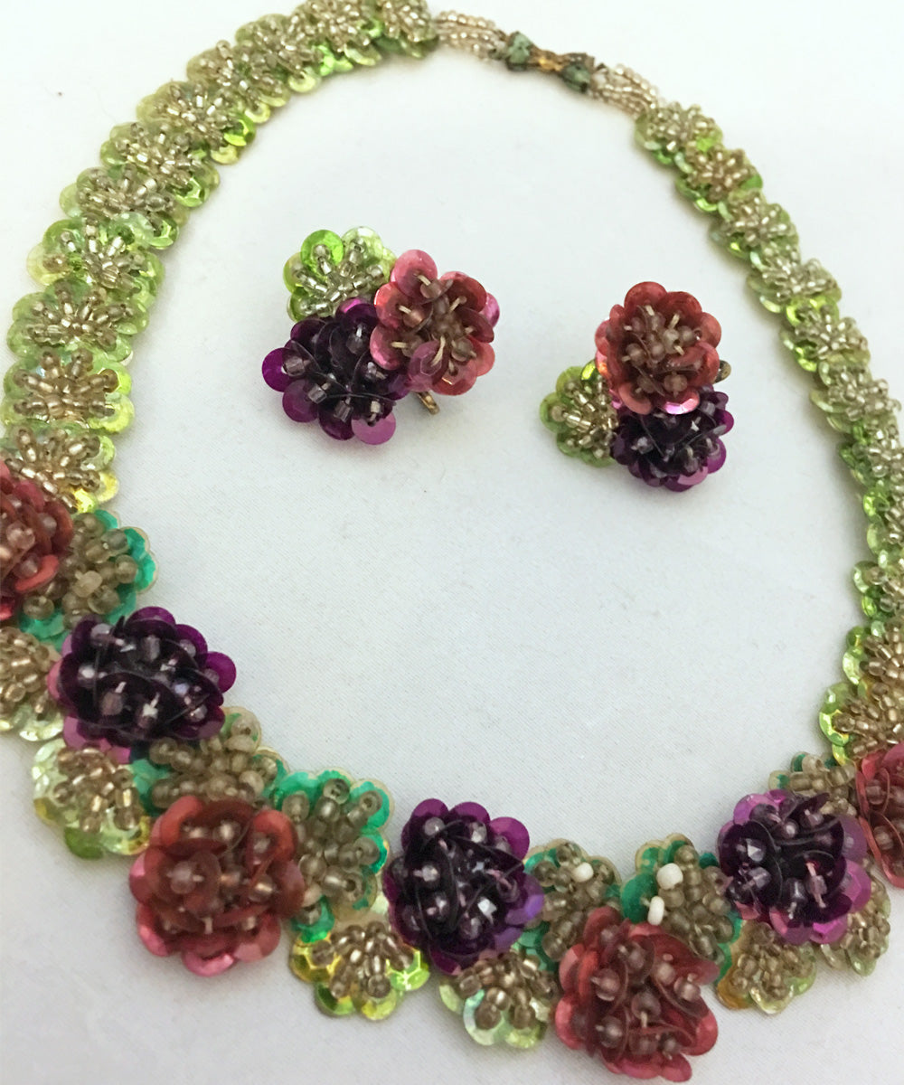 Vintage 1950s Delicate Hand Made Purple Pansy Sequin Earring & Necklace Set