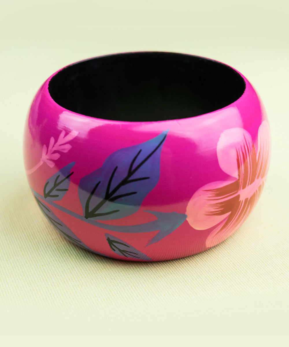 Hot Pink Painted Wood Hisbiscus Flower Bracelet