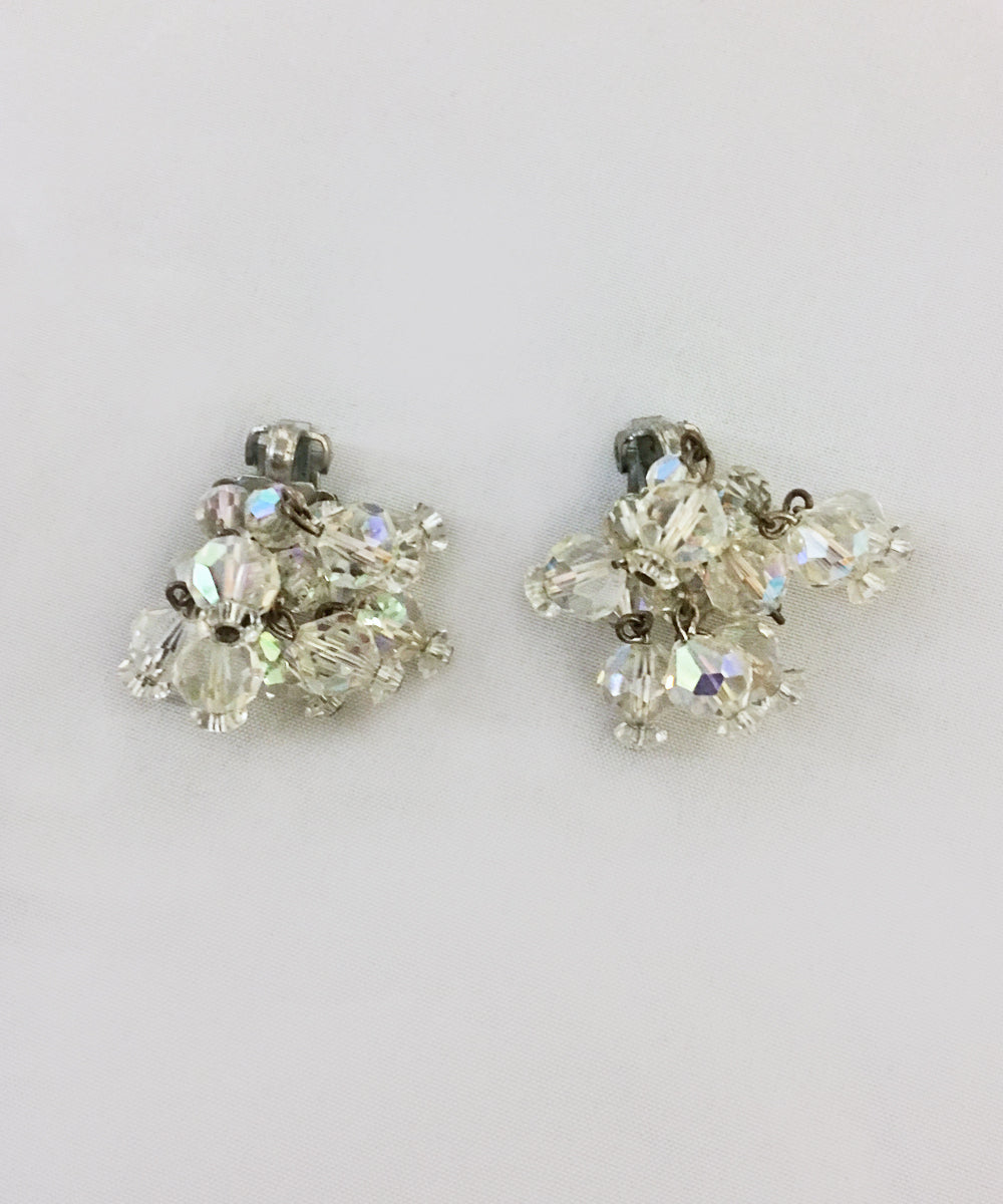 Vintage Laguna Cascading Crystal Clip On Earrings