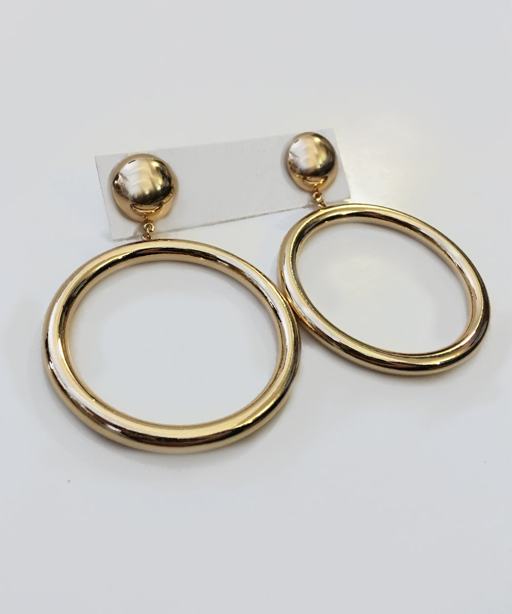 Gold Oversized Round Hoop Retro 1950s Earrings