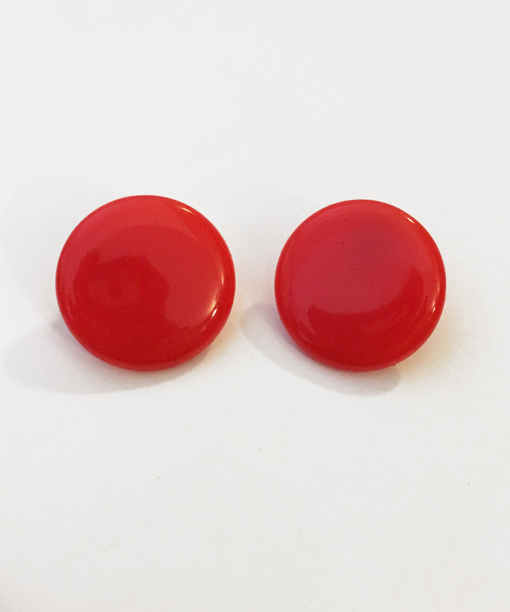 Large Red Round Resin Clip On Vintage Inspired Earrings