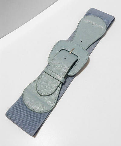 1950s Inspired Light Blue Faux Leather Thick Stretch Belt