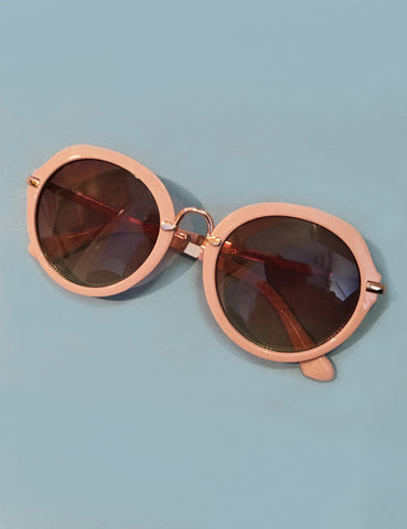 Peach & Gold Round 1960s Mod Sunglasses