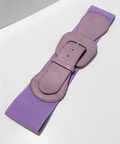 Lavender Purple Faux Leather Thick Stretch Belt