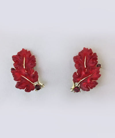 Rare Vintage Lisner Red Oak Leaf Clip On Earrings
