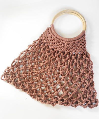 Dusty Pink Crocheted Wooden Handle Vintage Inspired Purse