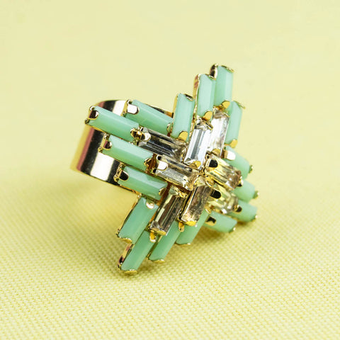 Mint Art Deco Beaded Adjustable Gold Ring