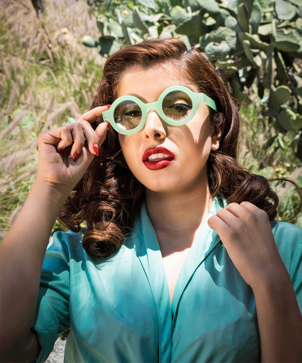 Mint Green Rounded 1940s Inspired Retro Sunglasses