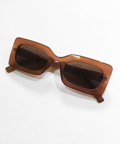 Mod 1960s Square Frame Translucent Brown Retro Sunglasses
