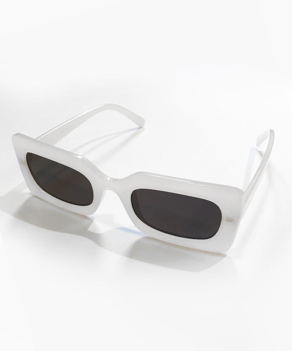 Mod 1960s Square Frame Milky White Retro Sunglasses
