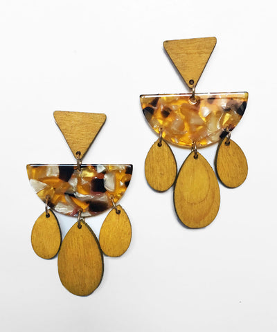 Mustard Yellow Wood & Marbled Resin Dangle Earrings