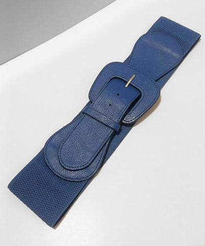 Navy Blue Faux Leather Thick Stretch Belt
